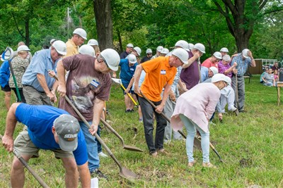 About 150 people broung shovels and helped break ground for the new Tabernacle at Koronis.