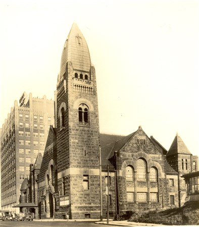 Historic black and white photo of the Historic Wesley Center.
