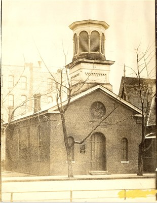 Market Street Episcopal Church in St. Paul is shown in an old black and white photo.