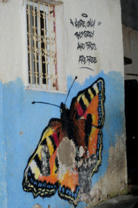 "A battered wall in a refugee camp has been painted with a large, colorful, realistic butterfly. Graffiti says ""Here, only butterfly and birds are free."""